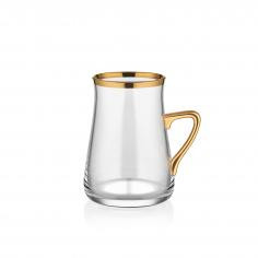 TARABYA HANDLE BRIGHT GOLD TEA GLASS ST 6 PIECE